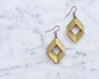 Brass Rhombus Earrings / Geometric Minimalist Jewelry / Boho Festival Style