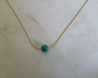 Beaded Gold Necklace, Turquoise Necklace, Turquoise Bead Necklace, Green Turquoise Gemstone, Turquoise Jewelry, Layered Choker