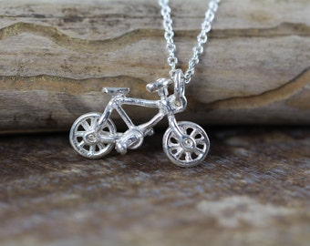 Bike Bicycle Necklace 925 Sterling Silver