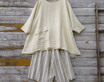 Washed Linen Tunic Shirt Linen Loose Fitting Top With Pocket Prairie Lagenlook Ready To Ship One Size USA