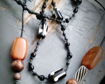 From the Woods - necklace set, carved stone rabbit, organic wood & cruelty free bone beaded leather and soft help surf necklace