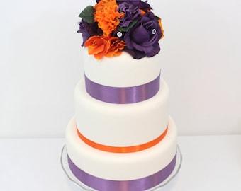 Halloween Inspired Wedding Cake Topper - Orange, Purple Rose, Hydrangea, Silk Flower Cake Topper, Halloween Wedding, Halloween Cake Topper