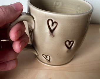 Heart Polkied Coffee Cup One Mug in Baby Gray - Ready to ship