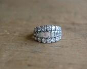 Vintage 1930s platinum diamond cocktail ring ∙ vintage diamond platinum ring