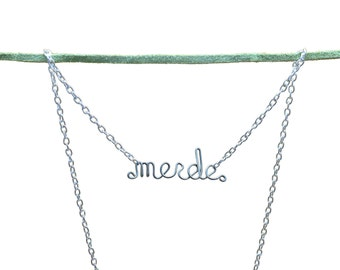Merde Necklace - Pardon My French - French Cuss Word Mature Humor Jewelry - Shit - Cute Curse Word Jewelry - Gift for a dancer - dance gift