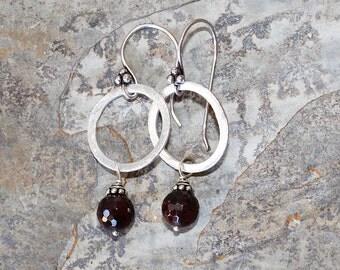 Garnet Stone Hoop Earrings, Garnet Earrings, Natural Stone Earrings, Hoop Earrings, holiday earrings, Christmas earrings, stocking stuffer