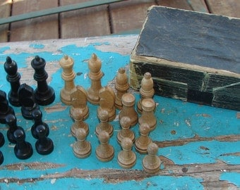 Vintage Wooden Chess Set by Horn