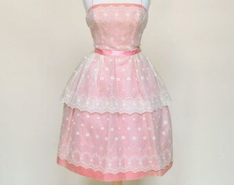 Vintage 1950s Party Dress...WILL STEINMAN ORIGINAL Pink and Ivory Party Dress Bridesmaid