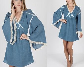 Vintage Boho Dress Hippie Dress Hippy Dress Angel Sleeve Dress Lace Dress 70s Dress Floral Dress Dreaped Dress Flutter Sleeve Prairie Dress