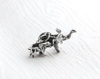 Mother and Child Elephants Sterling Silver Charm Pendant
