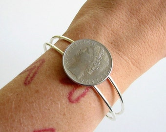 Italy coin bracelet . Italian coin cuff bracelet . coin jewelry . adjustable cuff . womens jewelry . world coin bracelet