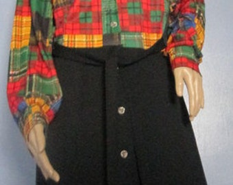 Plaid Dress. Plaid Vintage Secretary Dress with Vest.  Preppy Dress. Vintage Plaid Dress