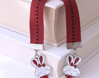 Kawaii Cute Ribbon Bookmark - Love Bunny Enamel Charms, Dark Red Ribbon