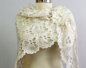 White Crochet Shawl, Lace Shawl, Bridal Shrug Bolero, Boho Chic, Romantic Wedding Wrap, Wedding Cover Up, Crochet Scarf Women Gift Idea