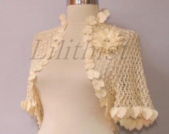 Ivory Shrug, Crochet Shrug, Wedding Bolero, Bridal Lace Shrug Bolero, Crochet Bolero, Crop Flower Bolero, Boho Chic, Romantic Wedding Shrug