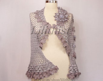 Lilac Shrug Bolero, Purple Crochet Shrug, Crochet Bolero, Bridal Lace Bolero, Lavander Summer Wedding Bolero, Flower Shrug, Cover Up / S-M-L