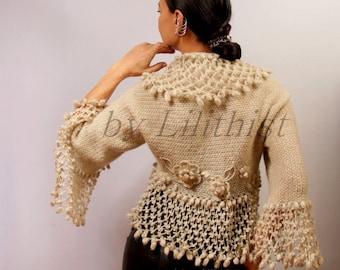 Bridal Shrug Bolero, Knit Shrug, Crochet Shrug, Wedding Shrug, Cover Up, Champagne Crochet Bolero Flower Shrug & Swarovski Crystal / S-M-L