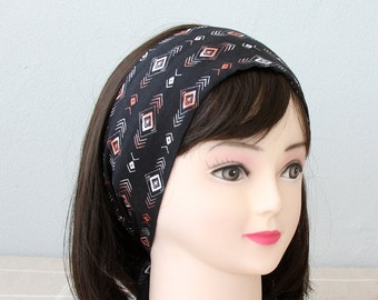 Black headband aztec headband tribal headband adult headband woman boho headband top knot headband hair wrap tribal printed head wrap hippie