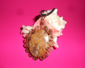 Ocean Jasper & Copper Stone Pendant Necklace Hand Formed Copper Mount  Suede Leather Cord