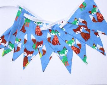 Fox print bunting - Foxy Loxy, blue bunting
