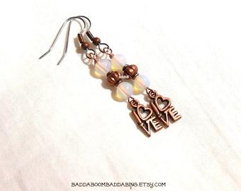 Opal Glass Beaded Charm Dangle Earrings - Surgical Steel French Hooks