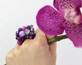 OUT OF TOWN - Orchid Stone Cluster Ring - Purple Fuchsia Magenta Eggplant Lilac Gray Beaded Shell Stone Hematite Cocktail Statement Ring