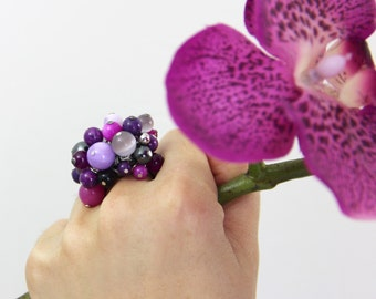 Orchid Stone Cluster Ring - Purple Fuchsia Magenta Eggplant Lilac Gray Beaded Shell Stone Hematite Cocktail Statement Ring