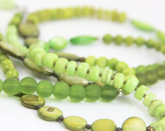 Mixed Green Colorblock Necklace Variegated Lime Green Olive Mixed Metal Silver Antique Brass Beaded Shell Glass Long Necklace