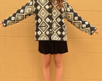 Vintage Black and White TAPESTRY Carpet JACKET with NATIVE American Pattern and Silver Buttons