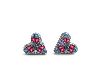 Intricate Cosmic Heart Stud Earrings, Millefiori, Hypo Allergenic, Polymer Clay, Stainless Steel, Supremily Jewelllery