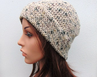 Cream Tweedy Crochet Hat Oatmeal Womens Hat Beanie Hat Handmade in Ireland