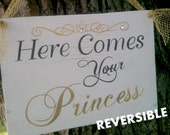 Wedding Sign, Reversible, Here Comes Your Princess, And They Lived Happily Ever After Gold Tiara with Crystals