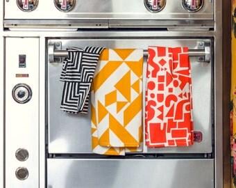 Parallels Tea Towel - Geometric Modern Organic Cotton