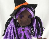 Witch Doll - Cloth Witch Doll - Cloth Halloween Doll- Witch Art Doll- Gift For Goths - Pumpkin Witch- Gothic Gift- Halloween Party Decor