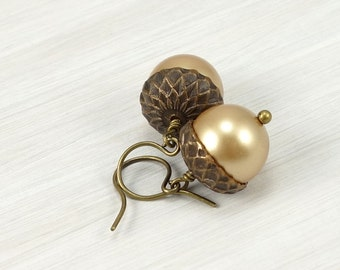 Acorn Earrings Gold Pearl Earrings Fall Jewelry Autumn Jewelry Teachers Gift for Women Back to School Thanksgiving Harvest Rustic Woodland