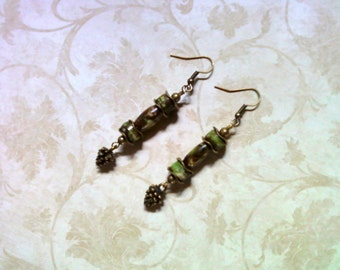Green and Brown Bone Earrings (1515)