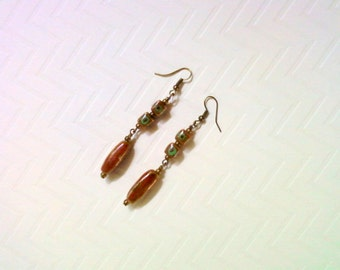 Red and Green Ceramic Dangle Earrings (2223)