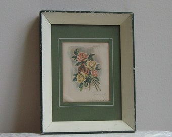 Vintage Floral Wall Art Print in Shabby Green Ivory Shadow Box Wood Frame by V.A.P. Co., Inc., Flowers Roses