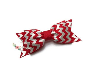 Red and Silver Hair Bow/Baby Tuxedo Bow/Red & Silver Bow/Christmas Hairbows/Red Bows for Fine Thin Hair/Silver Foil Print Chevron Bow
