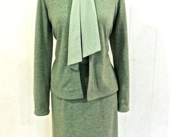 vintage designer wool dress set - 1950s-60s Nat Kaplan Couture green wool tie-neck dress w/ jacket