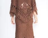 Knit 2 piece poncho and skirt by Sue Wong