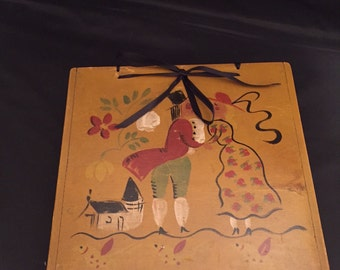 Folk Art Wood Box Hand Painted Steven Agnes Hall Vermont