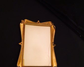 Vintage Brass Photo Picture Cabinet Card Frame Art Nouveau Easel Back Gilt Metal 1900s