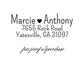 Custom Return Address Stamp featuring a handwriting font and heart Mounted with Handle or Self-inking (20391) 2 1/2 x 1