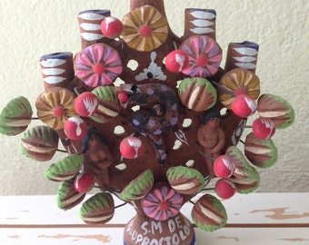 ETHNIC Mexican colorful clay Tree of Life