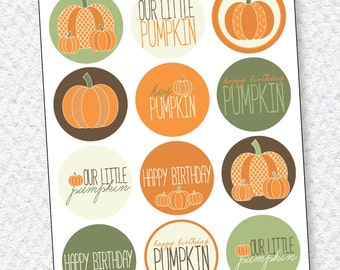 Our Little Pumpkin Party PRINTABLE Cupcake Toppers (INSTANT DOWNLOAD) by Love The Day