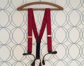 Red Silk Men's 80s Vintage Leather Button Tab Suspenders Portfolio Perry Ellis Designer Braces