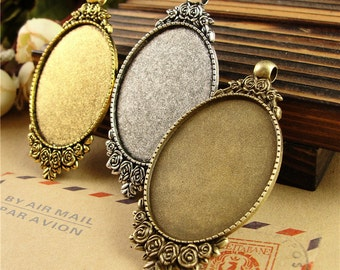 10 Pendant Trays- 30x40mm Filigree Flower Frame Oval Bezel Setting W/ Loop, Antique Silver/ Antique Bronze/ Antique Gold available- HA3795