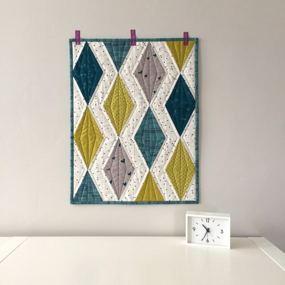 Modern Quilt Wall Hanging Diamond Quilt Teal And