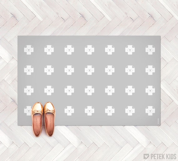 Items Similar To Grey Rug For Kids / Kitchen Mat / Swiss
